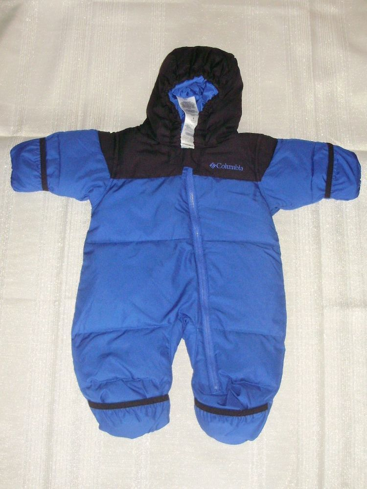 1e95f4a25015 Columbia Infant Boys Feather Down Bunting Snow Suit Blue Black Size ...