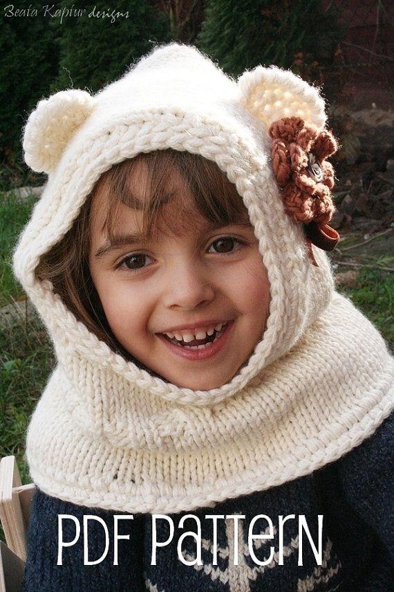 Knitting PATTERN Finnie Bear Hooded Cowl-Knitting pattern-Baby ...
