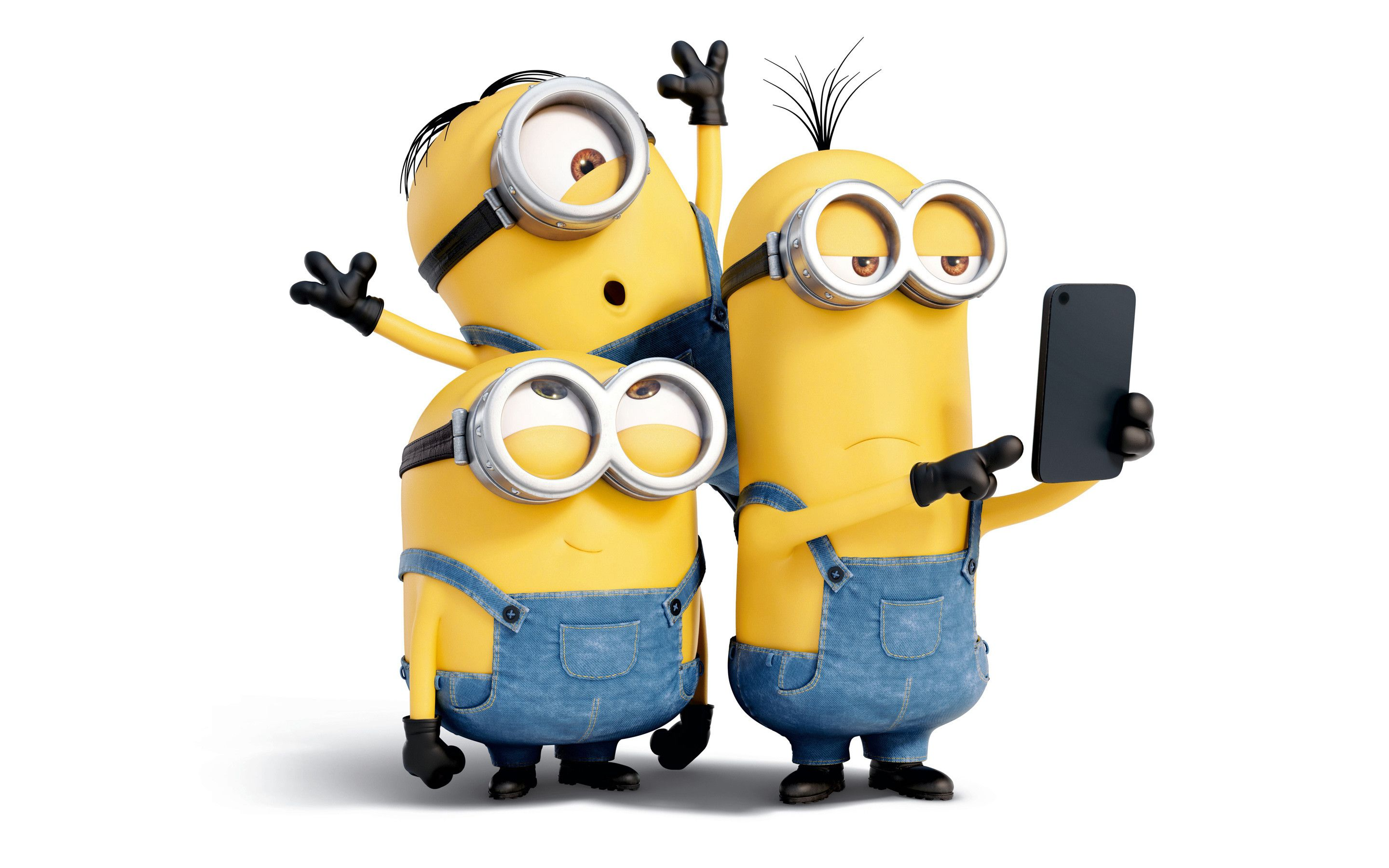 Three crazy minions make a selfie Funny cartoon