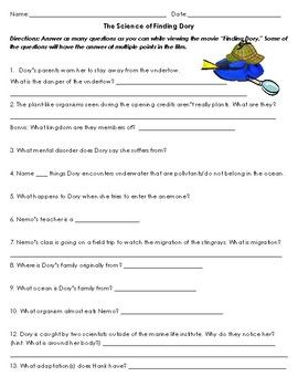 The Science Of Finding Dory Movie Worksheet
