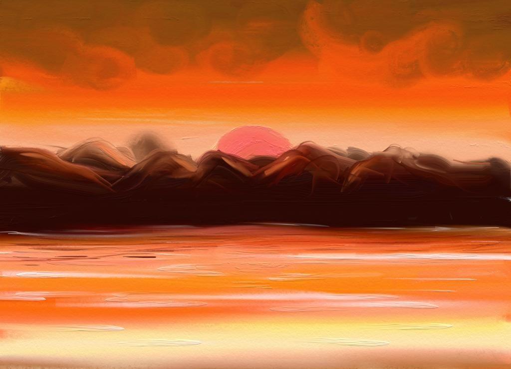 Monochrome Watercolor Landscape