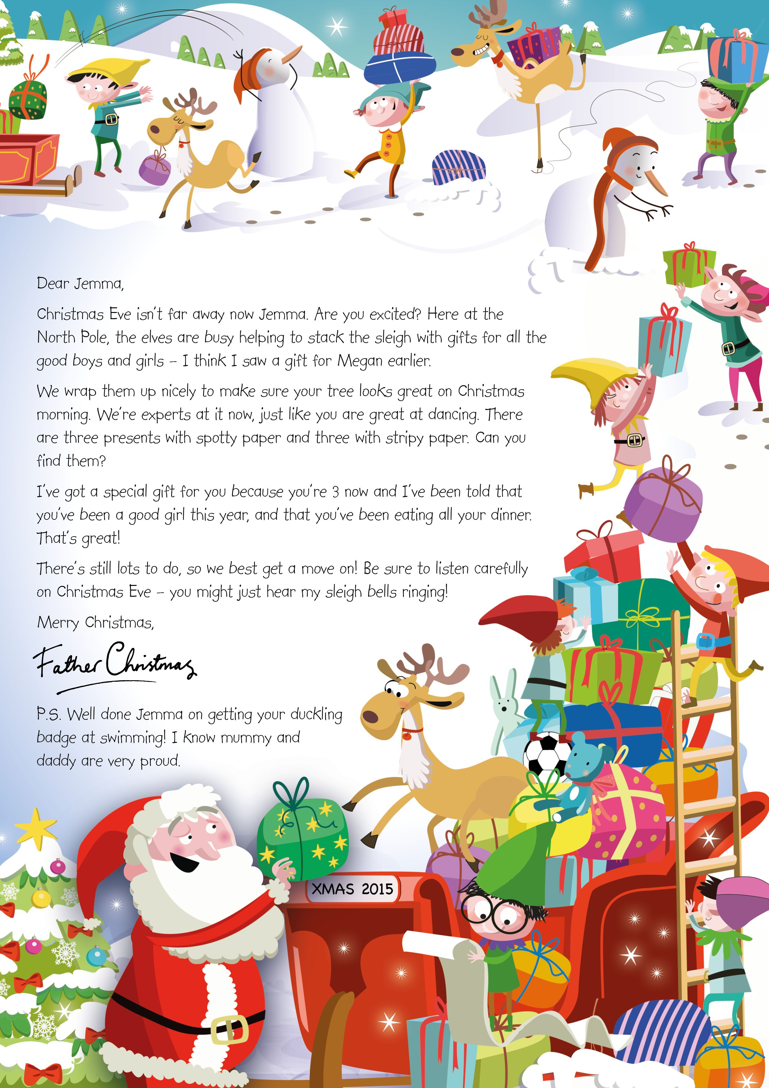 Nspcc Letter From Santa Loading Sleigh 2015 Https Www Nspcc