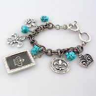 Crown Dangle Bracelet w/Fleur De Lis