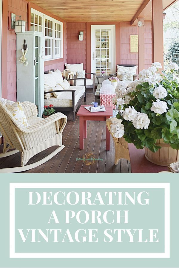 Porch Decor with vintage and thrifty style. #porchdecor ...