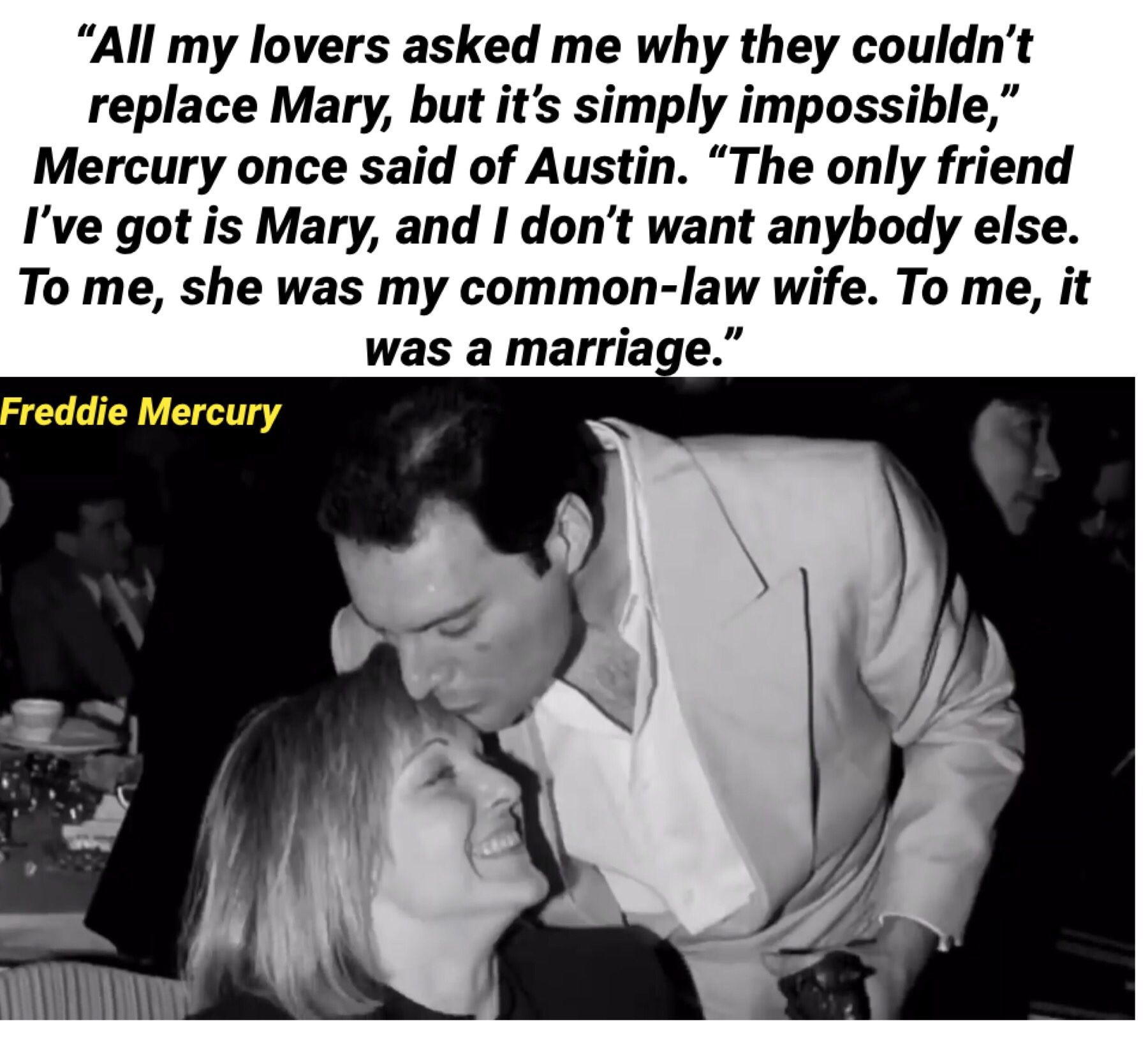 Who doesn't want a love like that? Inspirational Freddie Mercury and Mary Austin Quotes #valentinesday #freddiemercuryquotes