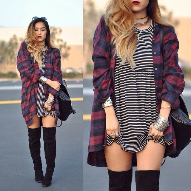 Super casual look wearing @dailylook jewels, dress by @shoptobi and boots from @zooshoo  Don't forget to follow and check them out for this look  #dailylook #shoptobi  Flannel Stripes dress Otk