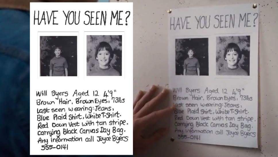 Stranger Things Will Byers Missing Poster Digital Download