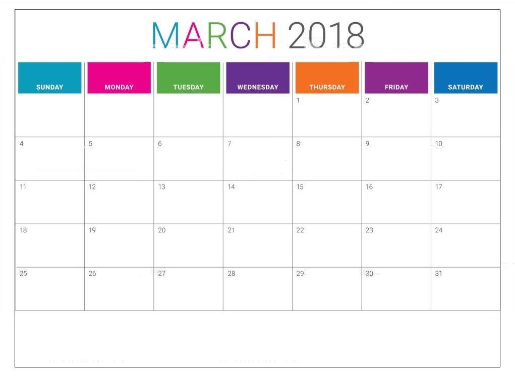 March 2018 Desktop Calendar Template MaxCalendars Desktop