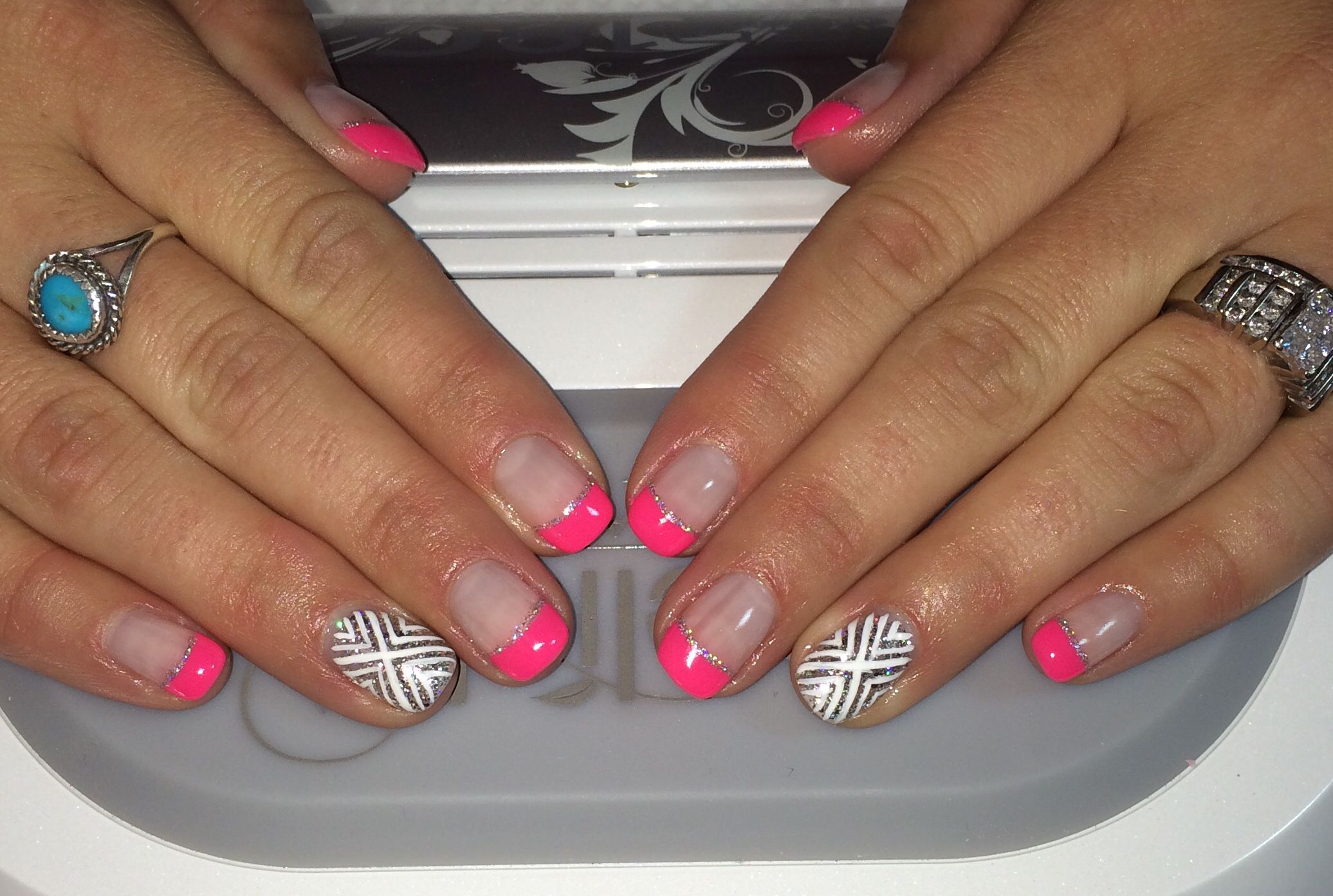 Pink French Mani With Silver Nail Art Summer 2014 Nail Design