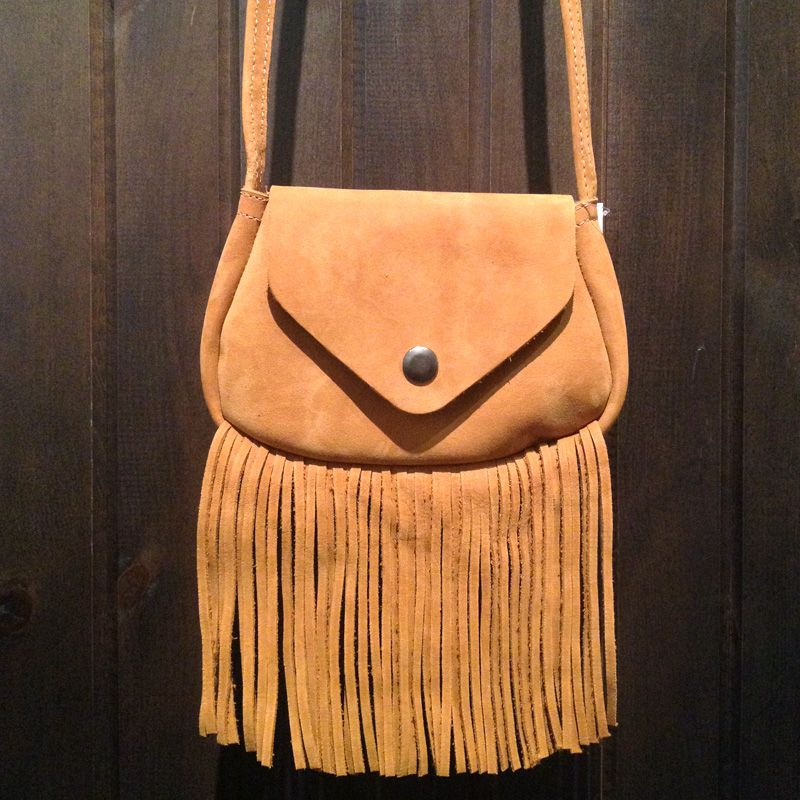 Caramel leather side bag from Even & Odd