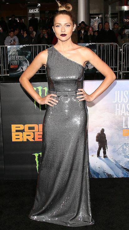 a7450d3fca14 Teresa Palmer in a one-shoulder silver sequin dress and dark lipstick