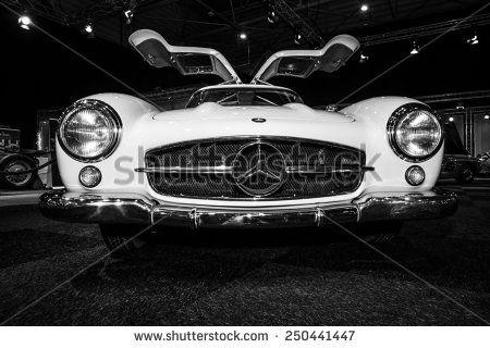 MAASTRICHT, NETHERLANDS - JANUARY 08, 2015: Sports car Mercedes-Benz 300SL (W198). Black and white. International Exhibition InterClassics & Topmobiel 2015 - stock photo