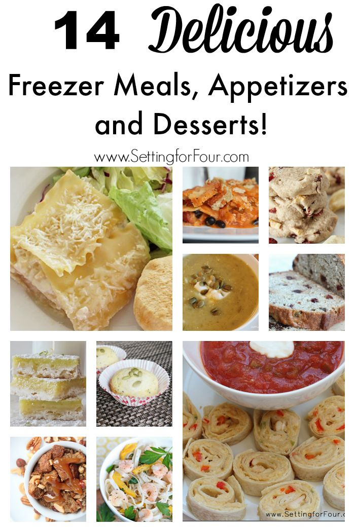 These are delicous and HUGE time savers! 14 of my favorite recipes for freezer meals, appetizers and desserts that can be made ahead, frozen and reheated for busy moms and dads! #testdrivemoms #spon www.settingforfour.com
