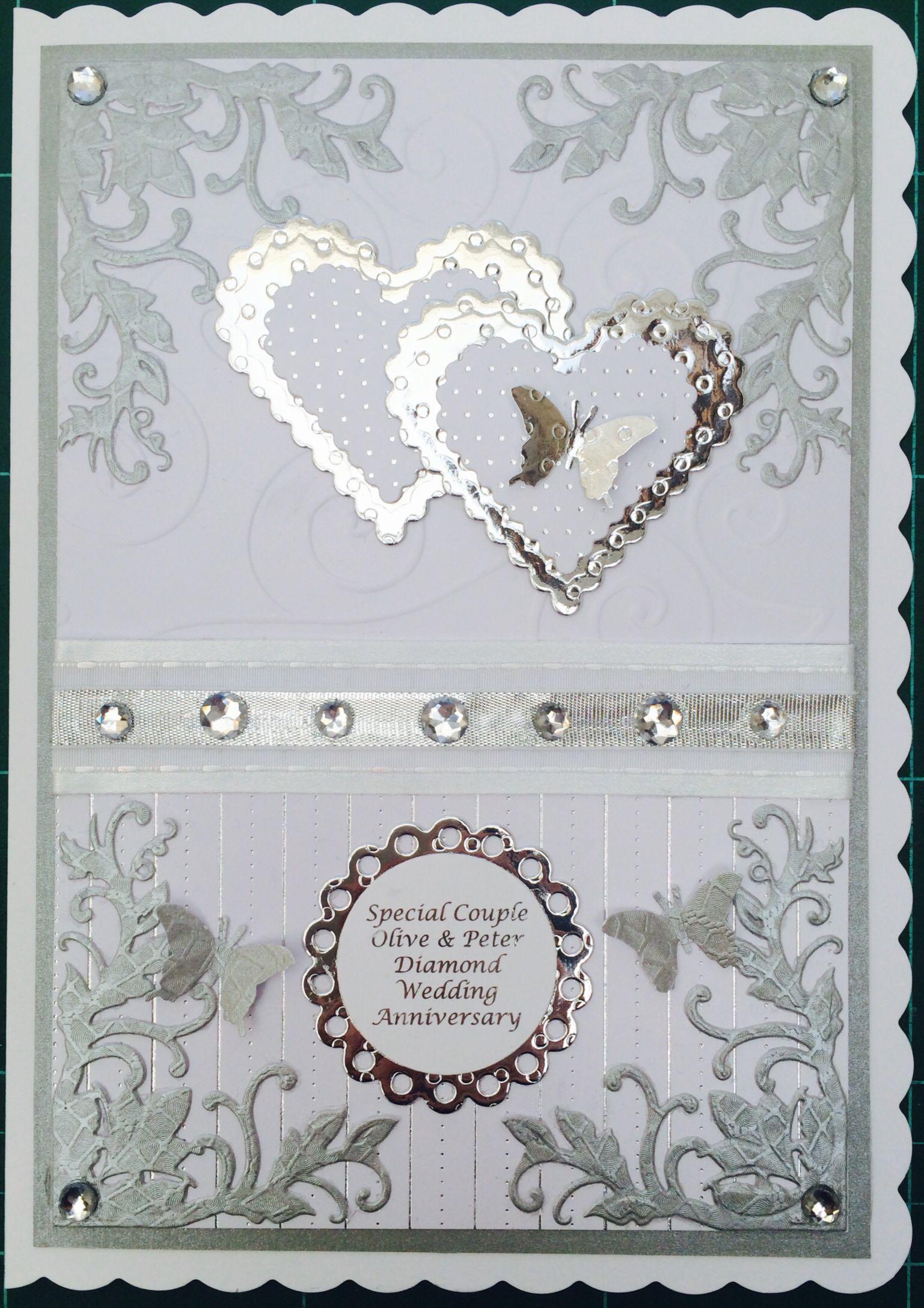 Handmade diamond wedding anniversary card wwwuk
