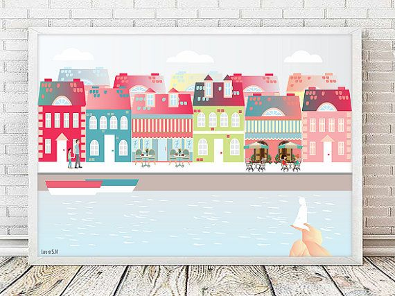 laminas, laminas decorativas, Copenhague, ilustraciones, laminas ...
