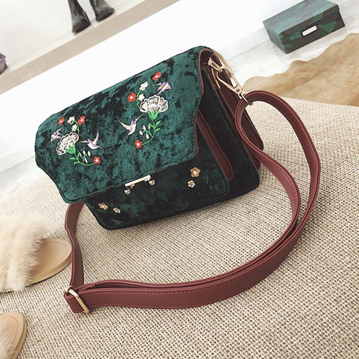 Detachable Strap Embroidery Velvet Shoulder Bag