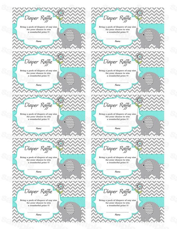 Elephant Baby Shower Diaper Raffle Ticket Diaper Raffle Card Diapers  Raffles Baby Shower Games Printable Digital Files Aqua Blue (01)