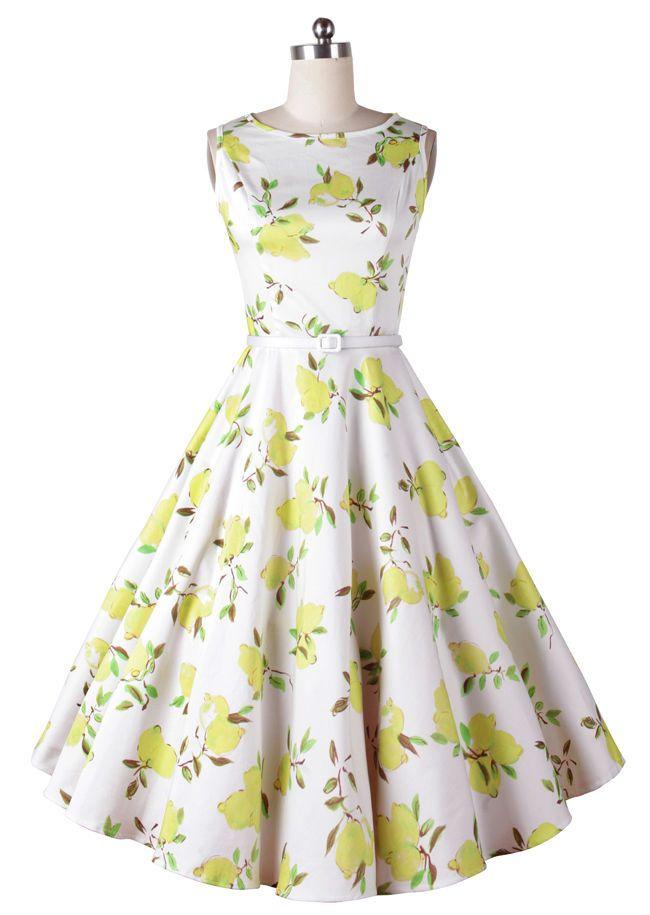 d35be8e568987c 50s Rockabilly Vintage Audrey Hepburn Crewneck Yellow Lemon Print Swing  Dress #Unbranded #SwingDress #Casual