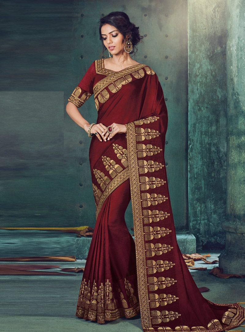 e00e1118e2 Buy Maroon Silk Festival Wear Saree 144650 with blouse online at lowest  price from vast collection of sarees at Indianclothstore.com.