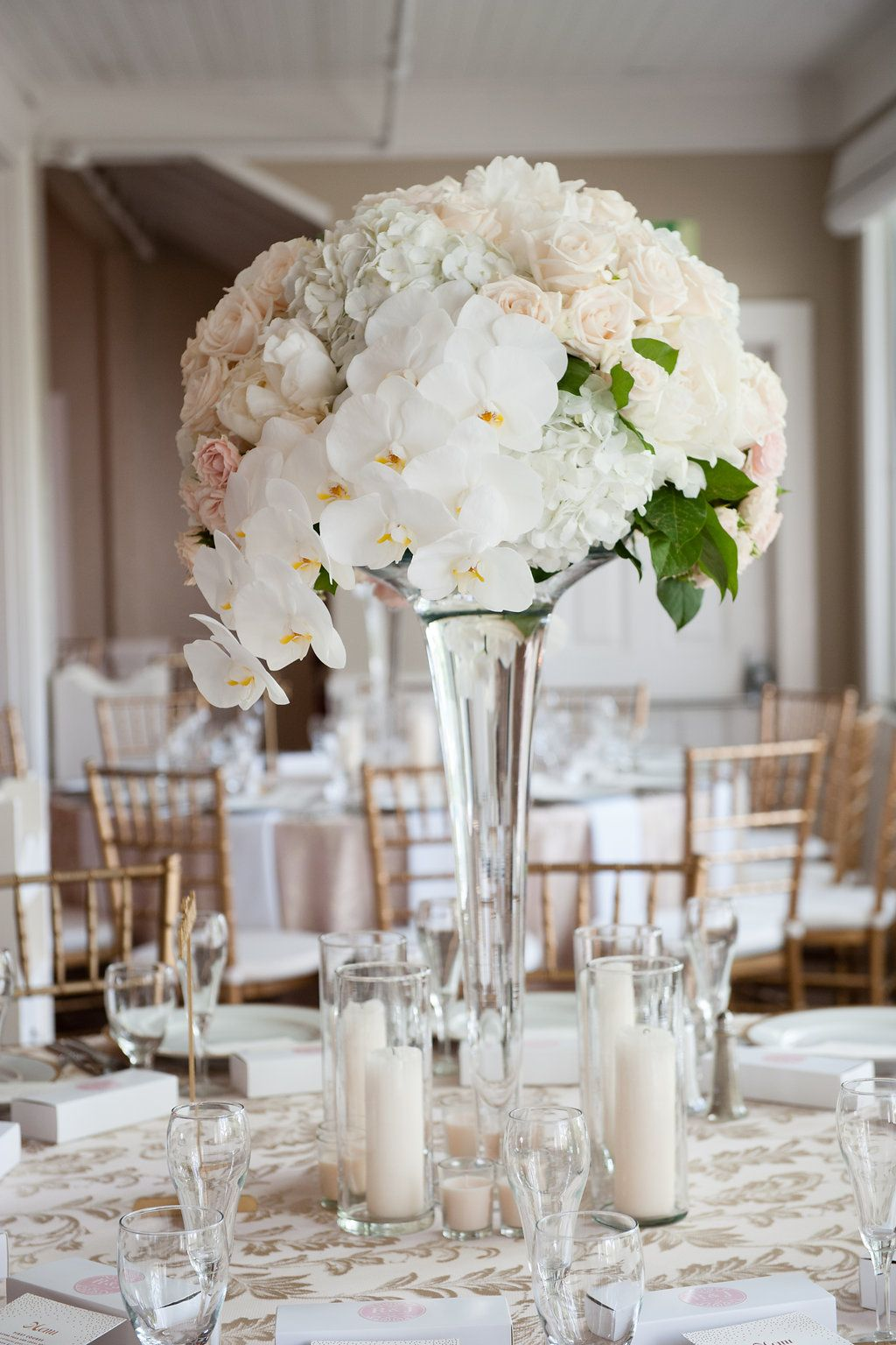 Tall White Centerpieces for an Elegant Wianno Club Wedding Planning ...