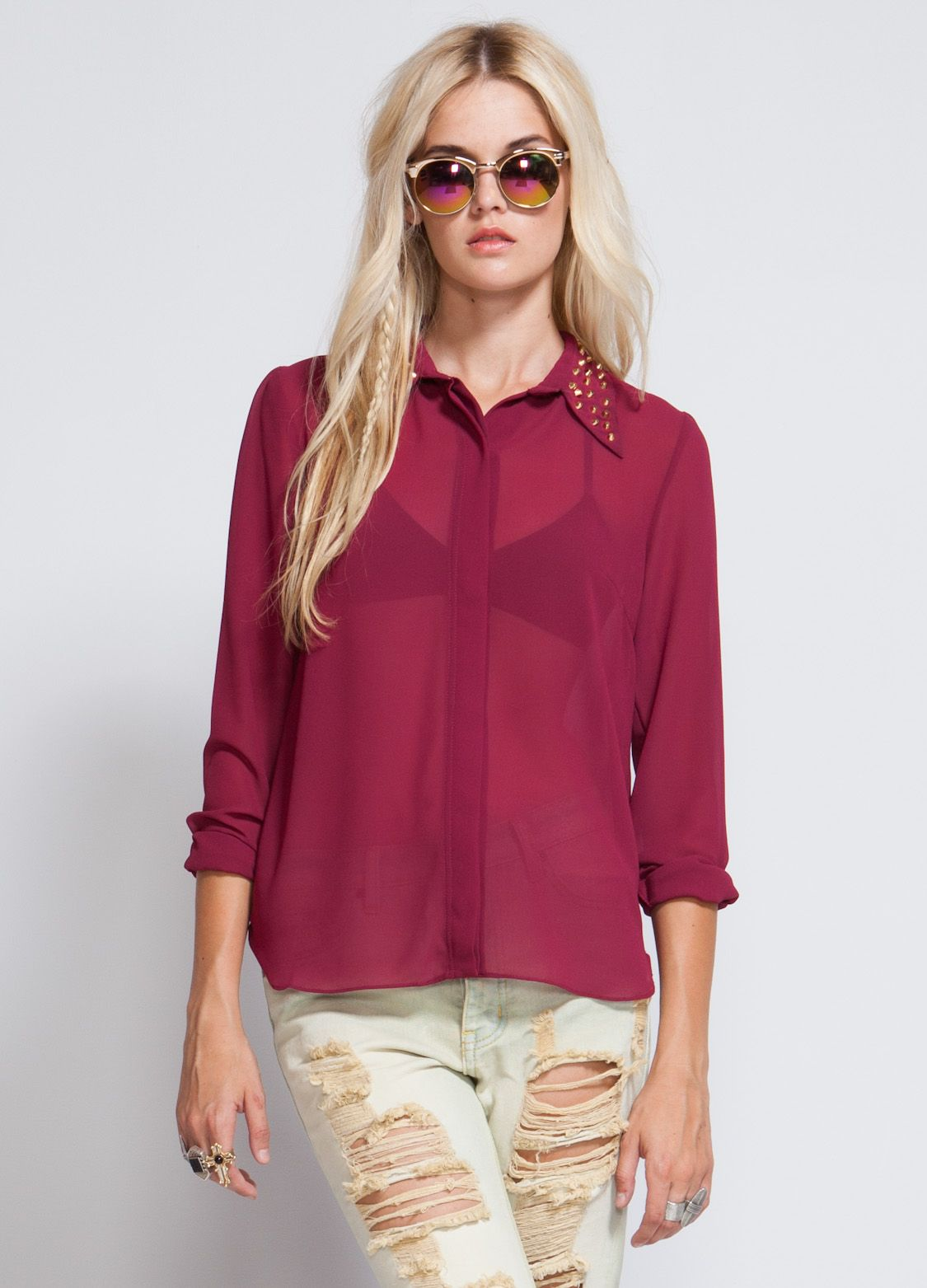 wine blouse with gold studs