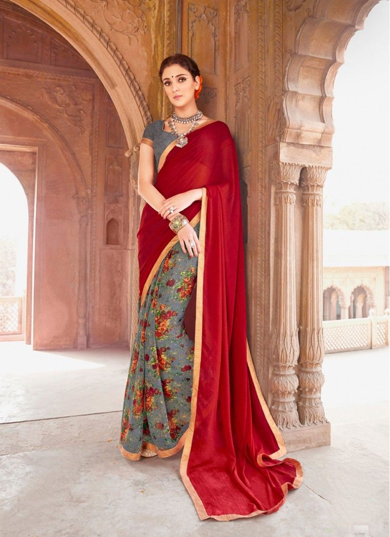 Faux Georgette Maroon and Grey Colored Decent Printed Saree