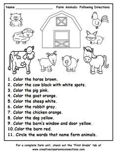 Farm Animals Following Directions Worksheet Provides Practice With Color Words And The Names Of Far Farm Preschool Preschool Worksheets Kindergarten Worksheets Read and color worksheets pdf