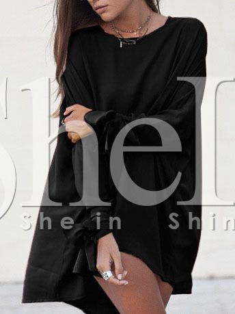 Black Knotted Sleeve High Low Dress 11.99