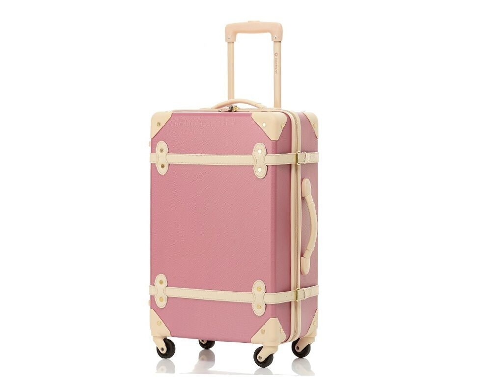 Vintage Trolley Rolling Spinner Travel Luggage Suitcase And Beauty Cosmetic InLuggage Sets