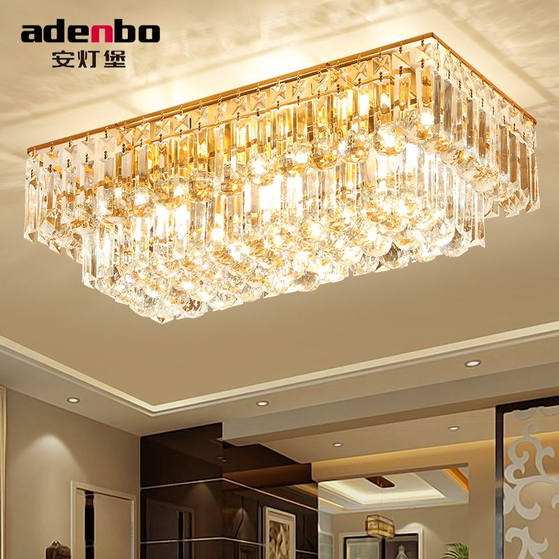 Fashion Gold LED Rectangle Ceiling Lights With K9 Crystal Balls For - led wohnzimmer deckenleuchte