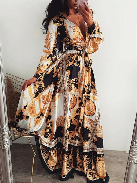 Plus Taille Femmes Boho Robe Longue Manche Longue Abaya Imprimé Plage Casual Sundress