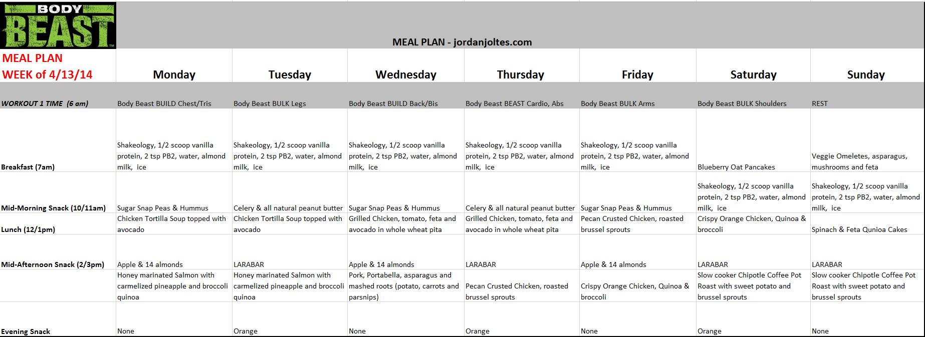 Jjoltes Meal Plan Body Beast 4132014 Body Beast For Women