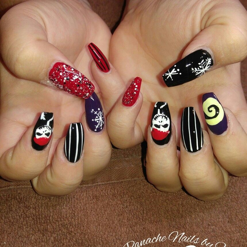 Hand painted Jack skellington christmas coffin nails