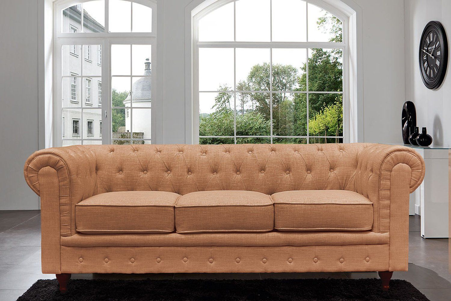 Chesterfield Divano ~ Amazon classic scroll arm tufted button chesterfield style