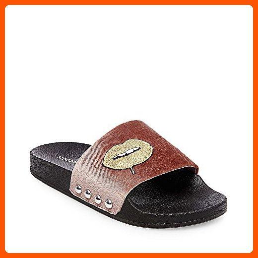 fbb59810077d1 Steve Madden Women's Patches Flat Sandal, Blush Multi, 7 M US - All ...