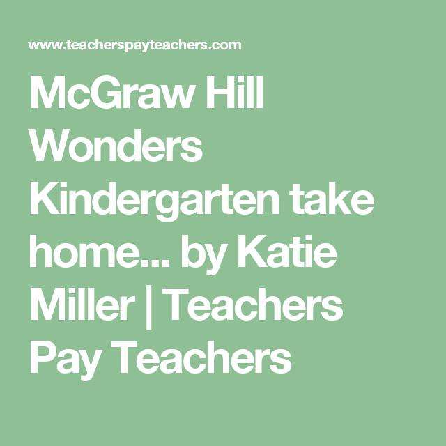McGraw Hill Wonders Kindergarten Take Home Practice Papers