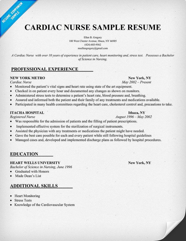 cardiac nurse resume sample resumecompanioncom - Nurse Resume Sample