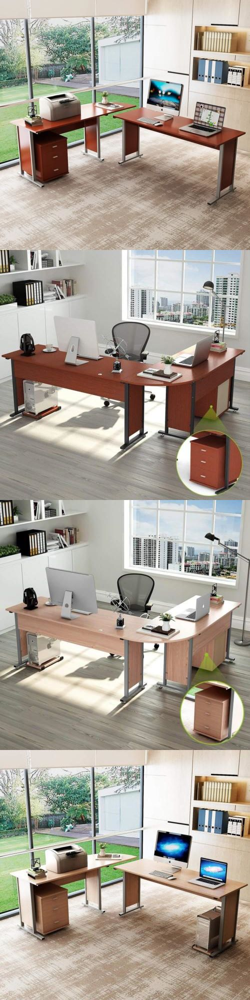 Large reversible modern lshaped desk with cabinet double corner