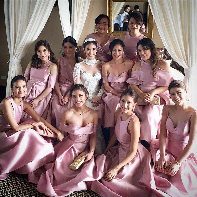 """Wedding Entourage Gowns: """"Bridesmaids @princesssssitap @nik0la @solennheussaff"""