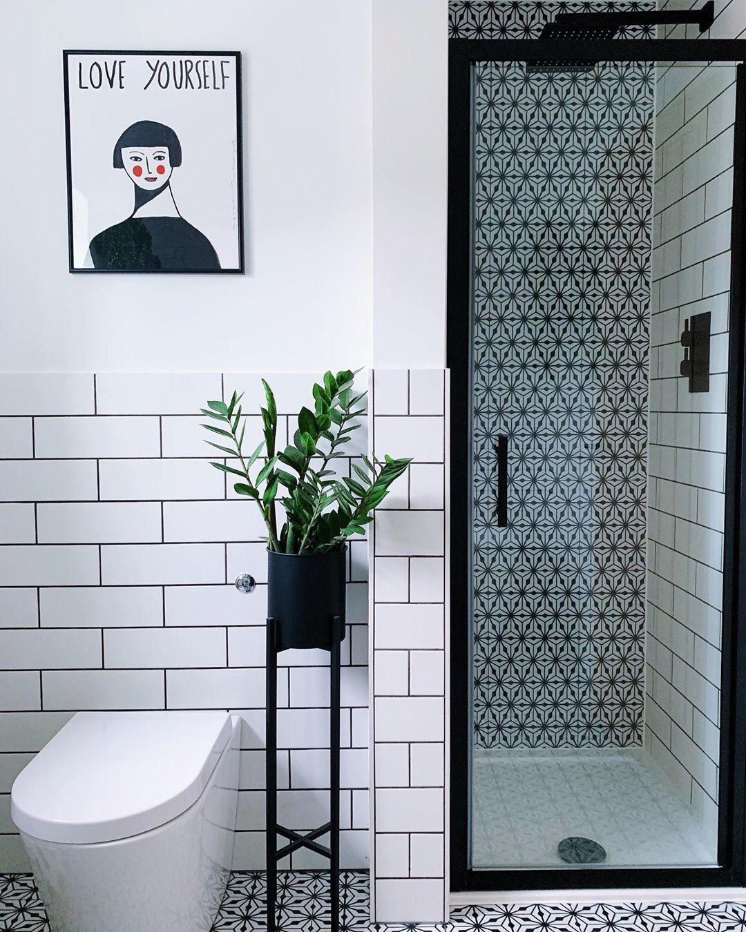 "Photo of Katie on Instagram: ""Love yourself. Although I love these tiles more. 😆 . . . . #bathroomrenovation #bathroommakeover #bathroomdesign #modernbathroom…"""