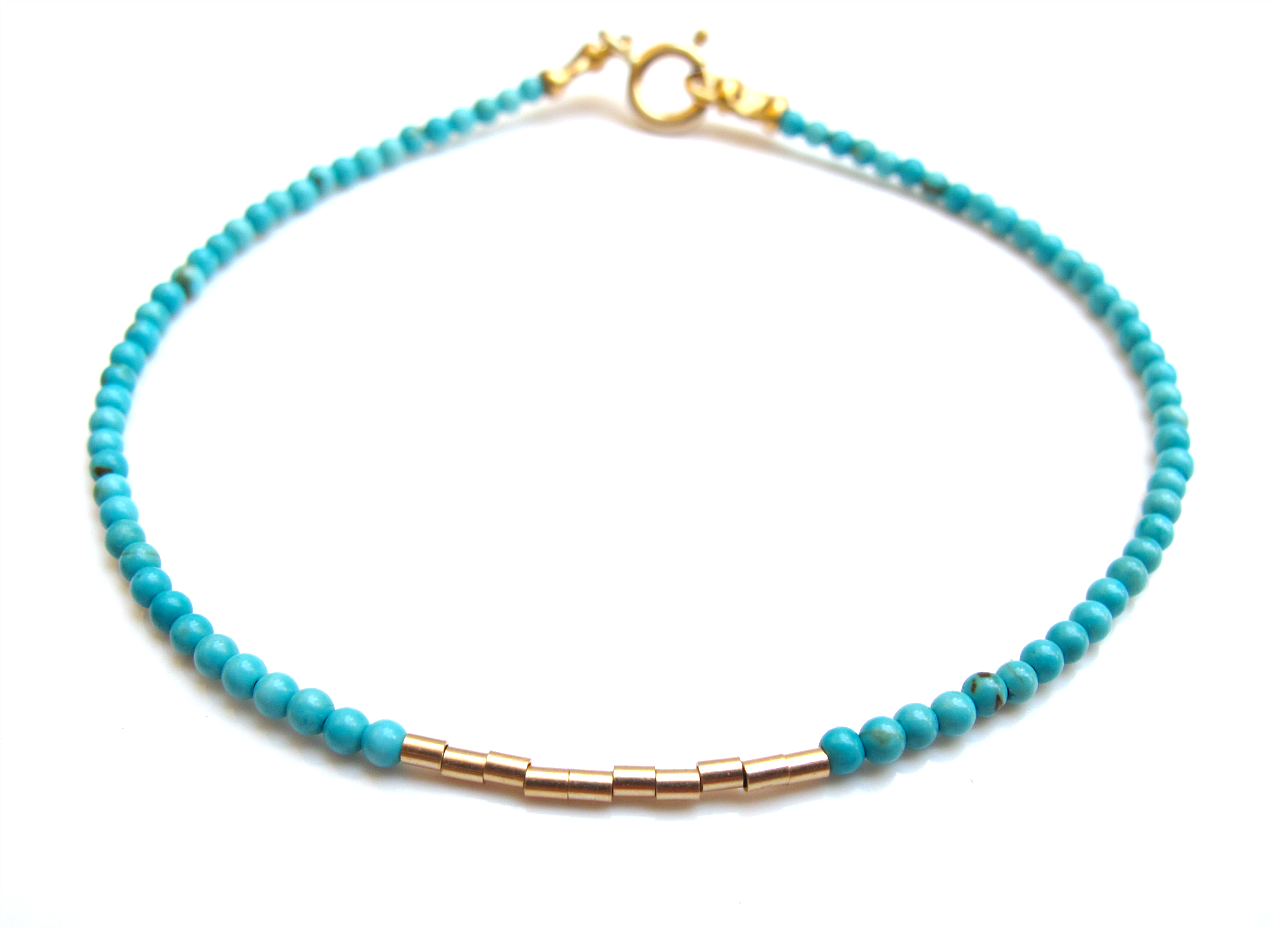 Blue turquoise k solid gold beads bracelet tube bangle