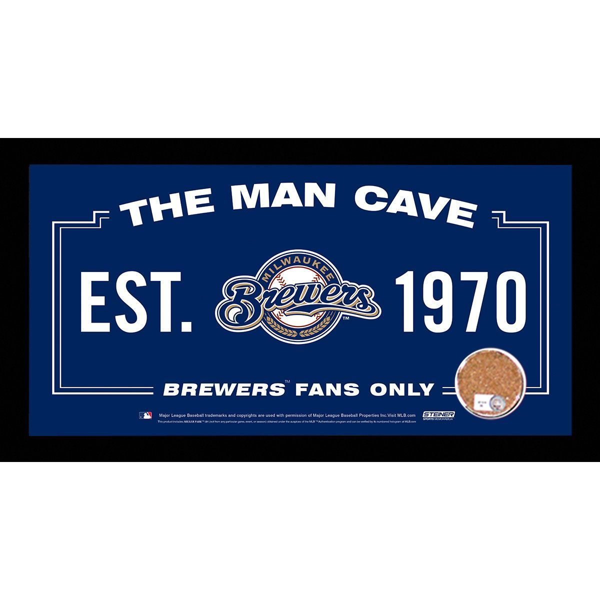 Milwaukee brewers man cave sign 6x12 framed photo with authentic game used dirt mlb