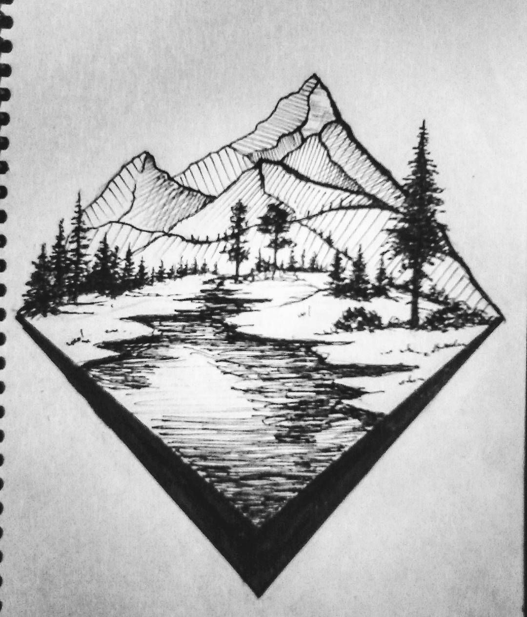 Art Drawing Graphic Paint Illustration Scetch Painting Draw Nature Landscape Forest River Mo Landscape Drawings Landscape Pencil Drawings Drawings