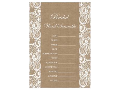 Lace Burlap Bridal Shower Game Rustic Activities Unique Games