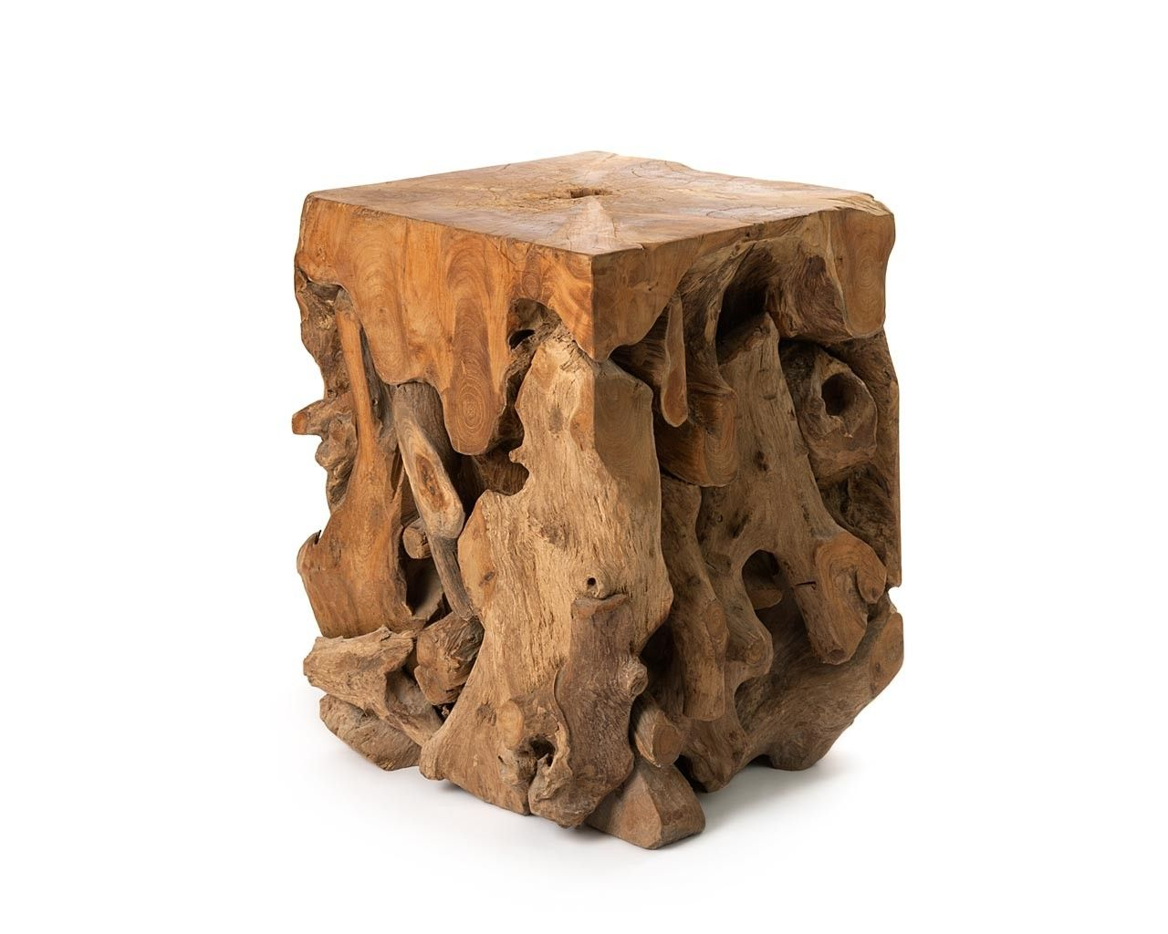 Solid Teak Stool | Home Dining Side Tables Solid Teak Root Stool ...