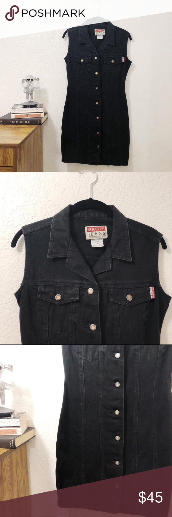 Vintage Black Denim Dress In Great Used Condition Vintage Squeeze Jeans Denim Dress 100 Cotton Tagged A Size M Length 33 Wa Denim Dress Black Denim Denim [ 1740 x 580 Pixel ]
