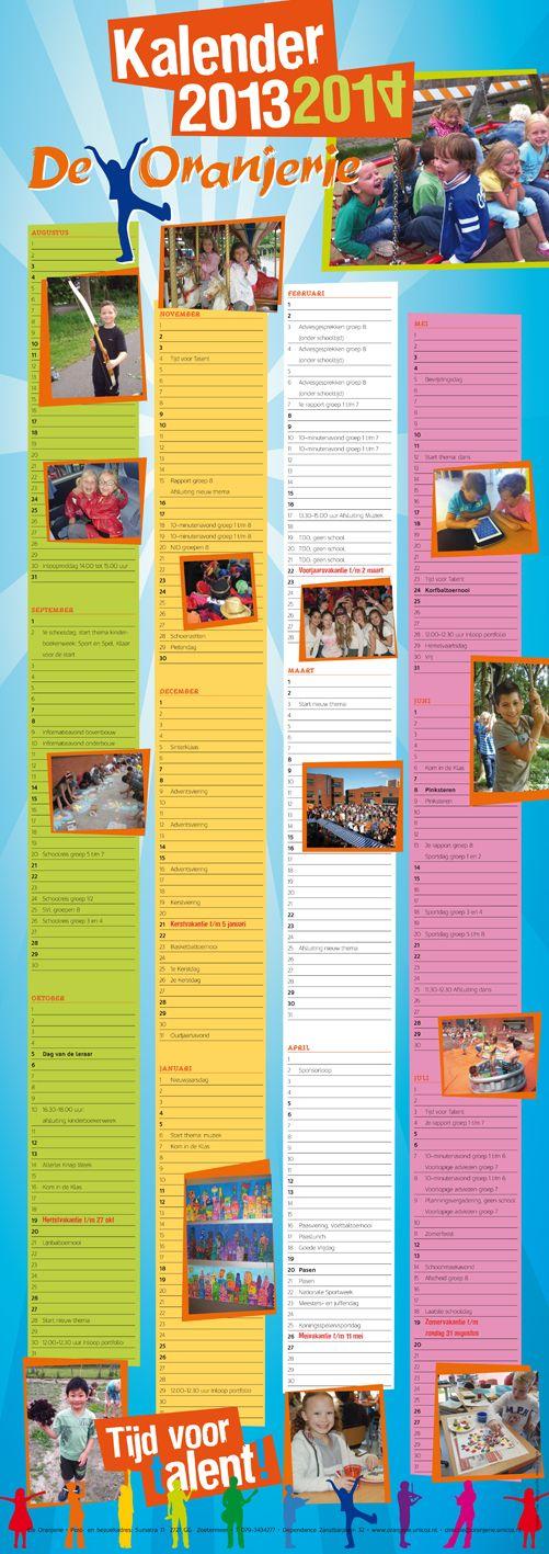 Schoolkalender op posterformaat voor Basisschool de Oranjerie 2013-2014.