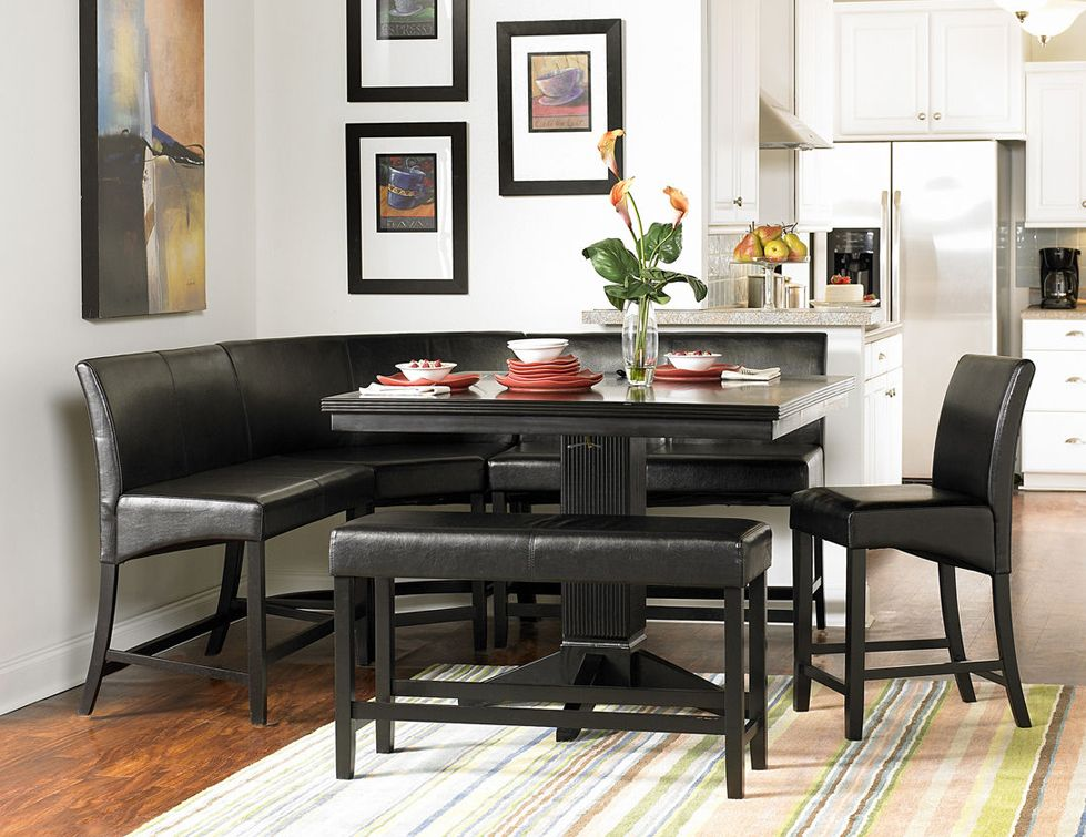 Homelegance Parario 6pc Counter Height Breakfast Nook Dining Table Set In  Black Finish