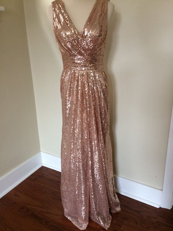 4058f56b Custom made 'Rosie' sequin ruched v neck sleeveless backless long metallic  sparkle flattering bridesmaid