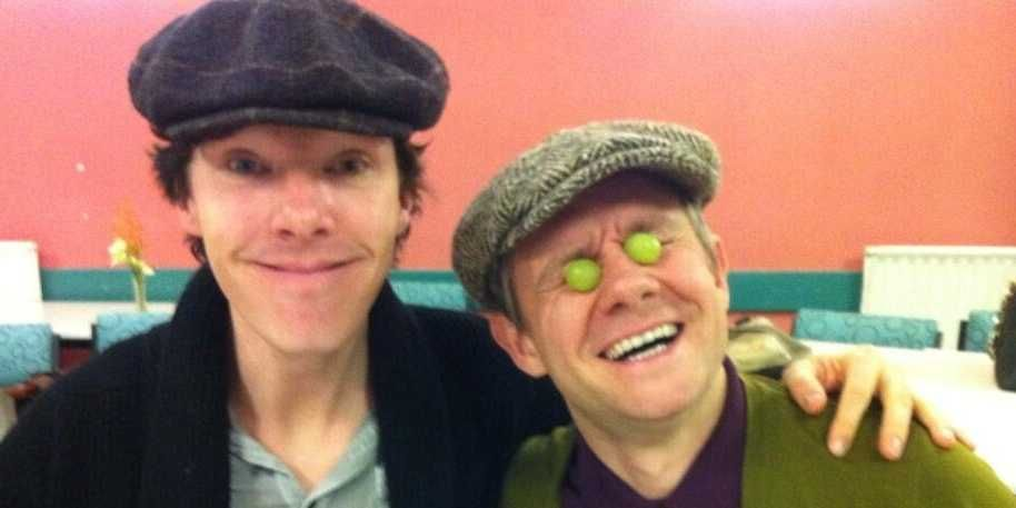 "Benedict Cumberbatch, Martin Freeman, and the crew show a less serious side while filming season 3 of ""Sherlock."""